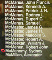Memorial– Flight Sergeant Sydney McMenomy is also commemorated on the Bomber Command Memorial Wall in Nanton, AB … photo courtesy of Marg Liessens