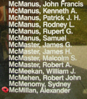 Memorial– Flight Sergeant Alexander McMillan is also commemorated on the Bomber Command Memorial Wall in Nanton, AB … photo courtesy of Marg Liessens