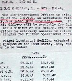 Document– Before D Day, the RCAF sent McMillan back to Canada for a rest after he had completed his Tour.  He was unhappy about being sent home before the invasion. The document refers to his anxiety to return.  McMillan did six months in Canada.  This paper shows all of his duty postings.  Source: Whitehouse via Archives Canada