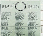 Inscription– Kamloops Cenotaph, British Columbia. Detail of the Tablet listing names for World War II.