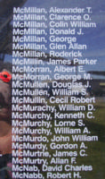 Memorial– Flight Lieutenant George Melvin Stark McMorran is also commemorated on the Bomber Command Memorial Wall in Nanton, AB … photo courtesy of Marg Liessens