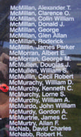 Memorial– Flight Sergeant Kenneth Cameron McMurchy is also commemorated on the Bomber Command Memorial Wall in Nanton, AB … photo courtesy of Marg Liessens