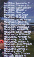 Memorial– Flying Officer William Archibald McMurchy is also commemorated on the Bomber Command Memorial Wall in Nanton, AB … photo courtesy of Marg Liessens