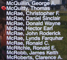 Memorial– Flying Officer Thomas McQuitty is also commemorated on the Bomber Command Memorial Wall in Nanton, AB … photo courtesy of Marg Liessens