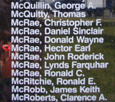 Memorial– Flying Officer Hector Earl McRae is also commemorated on the Bomber Command Memorial Wall in Nanton, AB … photo courtesy of Marg Liessens