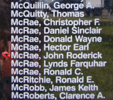 Memorial– Sergeant John Roderick McRae is also commemorated on the Bomber Command Memorial Wall in Nanton, AB … photo courtesy of Marg Liessens