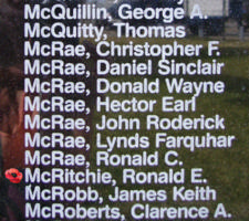 Memorial– Sergeant Ronald Edwin McRitchie is also commemorated on the Bomber Command Memorial Wall in Nanton, AB … photo courtesy of Marg Liessens
