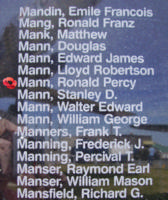 Memorial– Sergeant Ronald Percy Mann is also commemorated on the Bomber Command Memorial Wall in Nanton, AB … photo courtesy of Marg Liessens