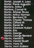 Memorial– Sergeant Harold Raymond Martin is also commemorated on the Bomber Command Memorial Wall in Nanton, AB … photo courtesy of Marg Liessens