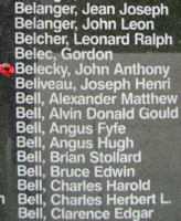 Memorial– Flying Officer John Anthony Belecky is also commemorated on the Bomber Command Memorial Wall in Nanton, AB … photo courtesy of Marg Liessens