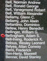 Memorial– Flying Officer Adam Sidney Bellingham is also commemorated on the Bomber Command Memorial Wall in Nanton, AB … photo courtesy of Marg Liessens