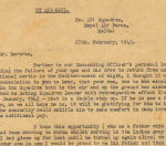 Letter– LETTER FAMILY RECEIVED SHORTLY AFTER ROSS WENT MISSING ON, SECOND TOUR OF DUTY ,OUT OF MALTA WITH 221 SQUADRON