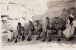 Group Photo– LEFT TO RIGHT...Ross,Stewart Fram(New Zealand),Jack Giddey(Australia),Reg Howard(Australia),Sam Heard(Australia)...at Sphinx Egypt,July 1942
