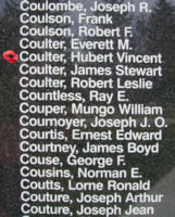 Memorial– Flying Officer Hubert Vincent Coulter is also commemorated on the Bomber Command Memorial Wall in Nanton, AB … photo courtesy of Marg Liessens