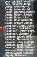 Memorial– Flying Officer Earl Willard Dickinson is also commemorated on the Bomber Command Memorial Wall in Nanton, AB … photo courtesy of Marg Liessens