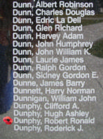 Memorial– Flying Officer Robert Ronald Dunphy is also commemorated on the Bomber Command Memorial Wall in Nanton, AB … photo courtesy of Marg Liessens