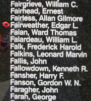 Memorial– Flying Officer Edgar Lloyd Fairweather is also commemorated on the Bomber Command Memorial Wall in Nanton, AB … photo courtesy of Marg Liessens