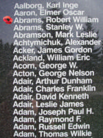 Memorial– Pilot Officer Robert William Abrams is also commemorated on the Bomber Command Memorial Wall in Nanton, AB