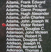 Memorial– Flying Officer Victor Robert Adams is also commemorated on the Bomber Command Memorial Wall in Nanton, AB … photo courtesy of Marg Liessens