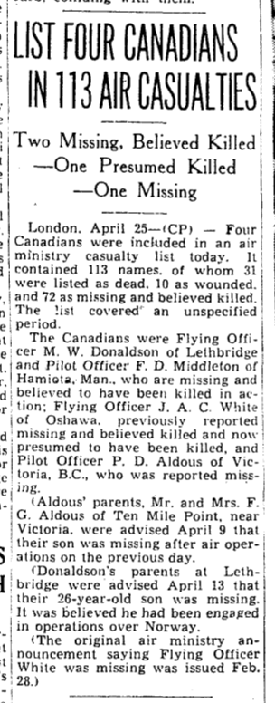 Newspaper clipping– From the Toronto Star April 1940. Submitted for the project Operation Picture Me