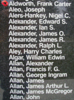 Memorial– Flight Lieutenant Frank Carter Aldworth is also commemorated on the Bomber Command Memorial Wall in Nanton, AB … photo courtesy of Marg Liessens