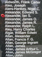 Memorial– Flying Officer Ian Sutherland Alexander is also commemorated on the Bomber Command Memorial Wall in Nanton, AB … photo courtesy of Marg Liessens