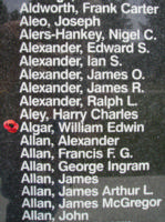 Memorial– Flight Sergeant William Edwin Algar is also commemorated on the Bomber Command Memorial Wall in Nanton, AB … photo courtesy of Marg Liessens
