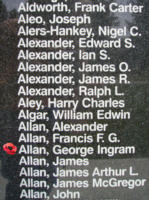 Memorial– Flying Officer George Ingram Allan is also commemorated on the Bomber Command Memorial Wall in Nanton, AB … photo courtesy of Marg Liessens