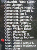 Memorial– Flying Officer James Allan is also commemorated on the Bomber Command Memorial Wall in Nanton, AB … photo courtesy of Marg Liessens