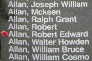 Memorial– Pilot Officer Robert Edward Allan is also commemorated on the Bomber Command Memorial Wall in Nanton, AB … photo courtesy of Marg Liessens