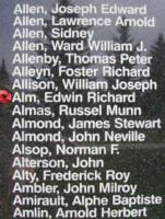 Memorial– Flight Sergeant Edwin Richard Alm is also commemorated on the Bomber Command Memorial Wall in Nanton, AB … photo courtesy of Marg Liessens