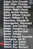 Memorial– Pilot Officer Earl Victor Beach is also commemorated on the Bomber Command Memorial Wall in Nanton, AB … photo courtesy of Marg Liessens