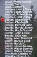 Memorial– Flying Officer Alexander Farquhar Beaton is also commemorated on the Bomber Command Memorial Wall in Nanton, AB … photo courtesy of Marg Liessens