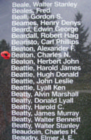 Memorial– Flight Sergeant Charles Norman Beaton is also commemorated on the Bomber Command Memorial Wall in Nanton, AB … photo courtesy of Marg Liessens