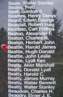 Memorial– Flight Sergeant Harold James Beattie is also commemorated on the Bomber Command Memorial Wall in Nanton, AB … photo courtesy of Marg Liessens