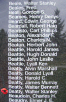 Memorial– Warrant Officer Walter Stanley Beatty is also commemorated on the Bomber Command Memorial Wall in Nanton, AB … photo courtesy of Marg Liessens