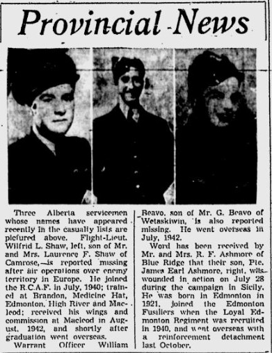 Newspaper Clipping– William Beavo in middle. From the Calgary Herald. Submitted for the project, Operation: Picture Me
