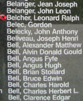 Memorial– Flying Officer Leonard Ralph Belcheris also commemorated on the Bomber Command Memorial Wall in Nanton, AB … photo courtesy of Marg Liessens