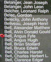 Memorial– Flying Officer Angus Fyfe Bell is also commemorated on the Bomber Command Memorial Wall in Nanton, AB … photo courtesy of Marg Liessens