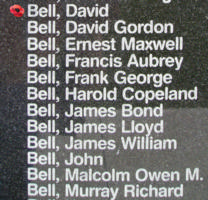 Memorial– Flying Officer David Bell is also commemorated on the Bomber Command Memorial Wall in Nanton, AB … photo courtesy of Marg Liessens