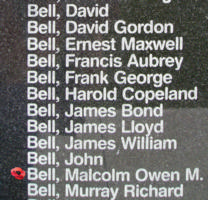 Memorial– Flight Sergeant Malcolm Owen Morley Bell is also commemorated on the Bomber Command Memorial Wall in Nanton, AB … photo courtesy of Marg Liessens