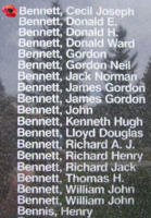 Memorial– Pilot Officer Cecil Joseph Bennett is also commemorated on the Bomber Command Memorial Wall in Nanton, AB … photo courtesy of Marg Liessens