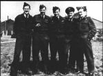 Group photo– The W/Cdr W. Kerby crew of 432 Squadron  This crew consisted of: W/Cdr W. Kerby RCAF, Sgt J. Smith RCAFPOW,  P/O V. Jewell RCAF, F/O J. Bennett RCAF, and P/O P. Murphy RCAF.  Four were killed and one POW when Wellington X LN-294 coded QO-E was shot  down by a Nightfighter while on an attack at Hamburg on the night of July 29/30, 1943.