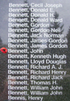 Memorial– Flying Officer John Bennett is also commemorated on the Bomber Command Memorial Wall in Nanton, AB … photo courtesy of Marg Liessens