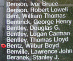Memorial– Pilot Officer Wilbur Boyd Bentz is also commemorated on the Bomber Command Memorial Wall in Nanton, AB … photo courtesy of Marg Liessens