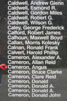 Memorial– Pilot Officer Angus Cameron is also commemorated on the Bomber Command Memorial Wall in Nanton, AB … photo courtesy of Marg Liessens