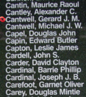 Memorial– Sergeant Gerard Joseph Michael Cantwell is also commemorated on the Bomber Command Memorial Wall in Nanton, AB … photo courtesy of Marg Liessens