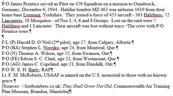 Document– final mission details and crew members