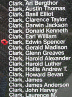 Memorial– Pilot Officer Edwin Spencer Charles Clark is also commemorated on the Bomber Command Memorial Wall in Nanton, AB … photo courtesy of Marg Liessens