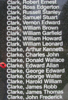 Memorial– Pilot Officer Edward Allan Clarke is also commemorated on the Bomber Command Memorial Wall in Nanton, AB … photo courtesy of Marg Liessens